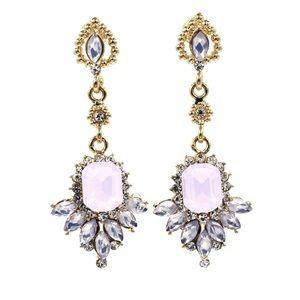 Elegant pink pendant crystal golden earrings